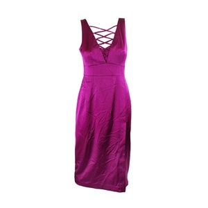 Nanette Lepore Fuchsia Sleeveless Lace Neck Dress